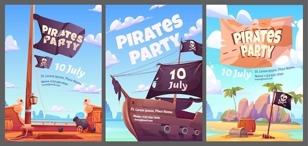 Piraci Party Plakaty Z Kreskówkami Dla Dzieci Ze Skrzynią Skarbów Ze Złotem Na Tajnej Wyspie Darmowych Wektorów