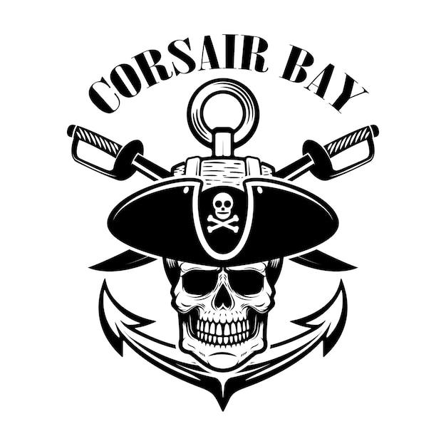Piraci. Szablon Godło Z Mieczami I Czaszką Pirata. Element Logo, Etykiety, Znaku. Ilustracja Premium Wektorów