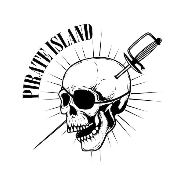 Piraci. Szablon Godło Z Mieczami I Czaszką Pirata. Element Na Logo, Etykietę, Godło, Znak. Ilustracja Premium Wektorów