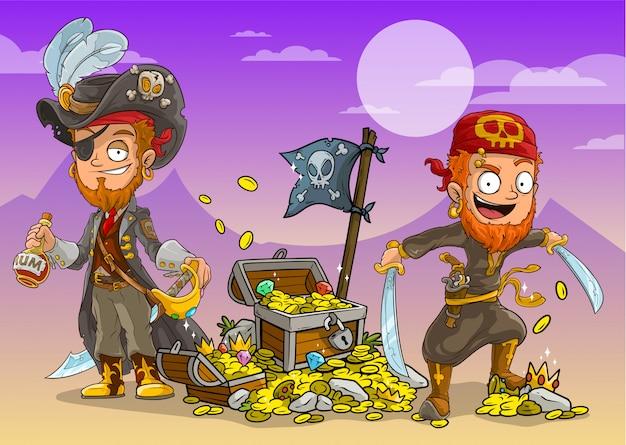 Piraci Z Kreskówek Z Rumem I Skrzyniami Ze Skarbami Premium Wektorów