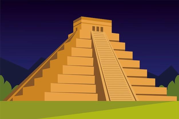 Piramida Azteków Tradycyjnej Kultury W Ilustracji Projektowania Krajobrazu Premium Wektorów