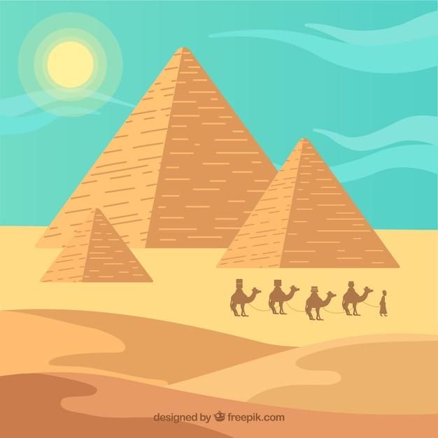 Piramida Krajobraz Z Karawaną Darmowych Wektorów