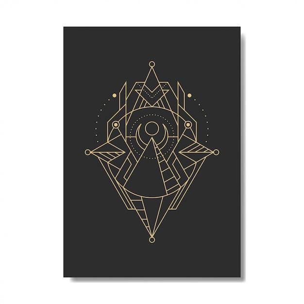 Piramida Linii Geometrii Premium Wektorów