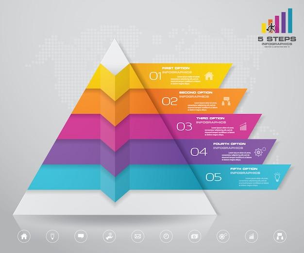 Piramida z wolnym miejscem na tekst na każdym poziomie. Premium Wektorów