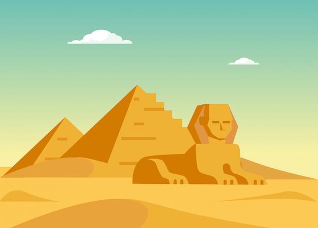 Piramidy I Sfinks Premium Wektorów