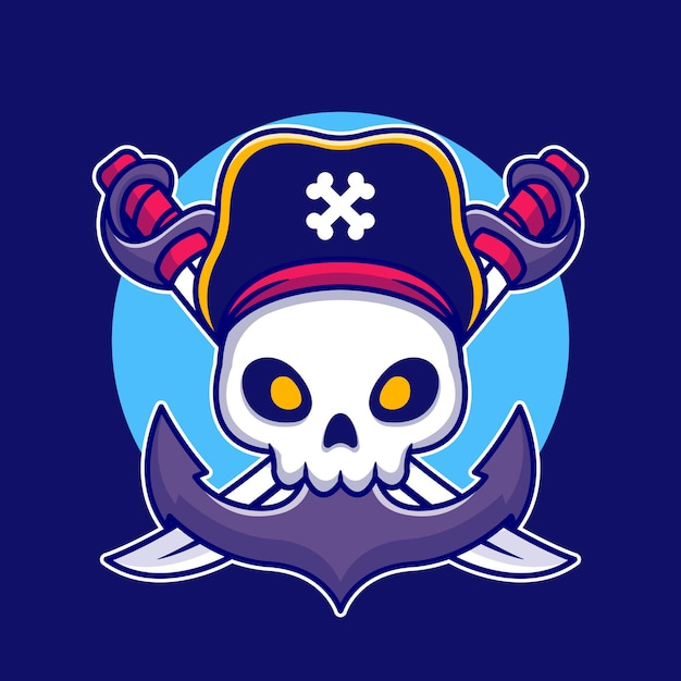 Pirat Czaszka Z Ilustracja Kreskówka Kotwicy Darmowych Wektorów