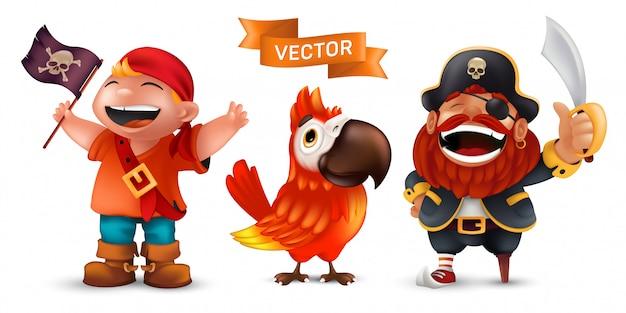 Pirat Morski W Kapeluszu Kapitana Z Szablą, Zabawną Papugą Arą I Szczęśliwym Roześmianym Chłopcem W Czerwonym Szaliku Z Zestawem Czarnej Flagi Na Białym Tle Premium Wektorów
