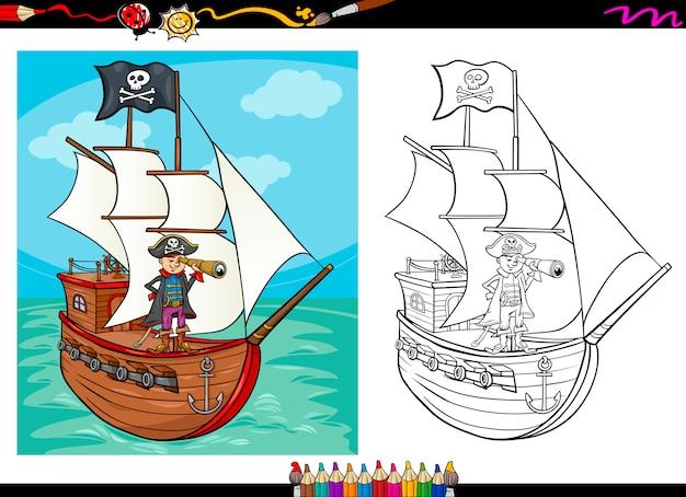 Pirat Na Statku Kreskówka Kolorowanka Premium Wektorów