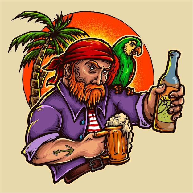 Pirat Trzyma Piwo Z Zmierzchu Tłem Premium Wektorów