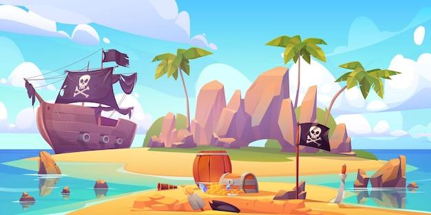 Pirat Zakopuje Skarb Na Plaży Na Wyspie. Darmowych Wektorów