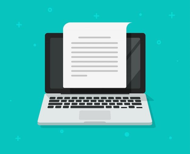 Pisanie dokumentów tekstowych lub treści listu tworzenie na komputerze przenośnym płaski kreskówka Premium Wektorów