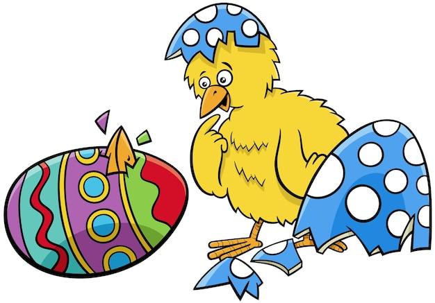 Pisklę Wielkanocne Wykluły Się Z Ilustracji Kreskówka Jajko Coloered Premium Wektorów