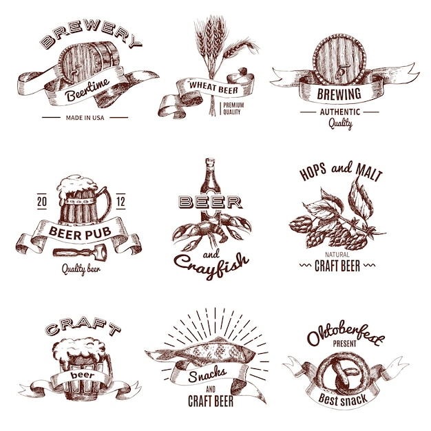 Piwo Kolorowe Ręcznie Rysowane Emblematy Z Napisami I Wstążkami Pić W Kubkach Przekąsek Beczkach Darmowych Wektorów