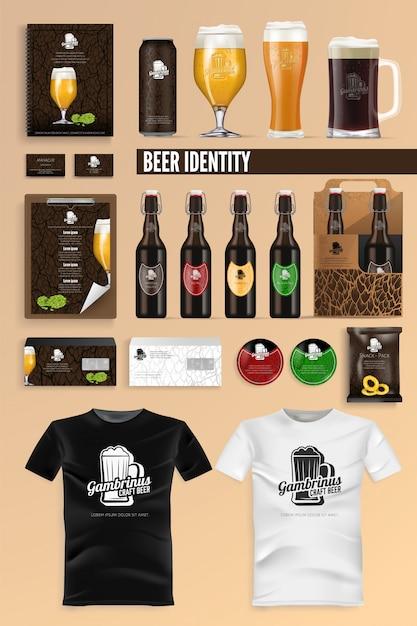 Piwo napój tożsamości marki makieta wektor zestaw. Premium Wektorów