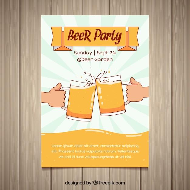 Piwo Party Plakat Z Ręcznie Rysowane Stylu Wektor Darmowe