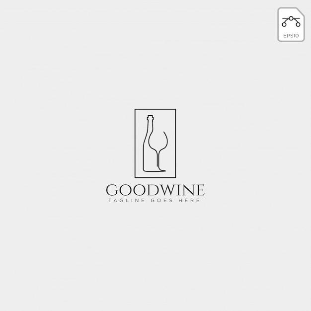 Piwo szkło i butelka kreatywnych logo szablon, element ikona Premium Wektorów