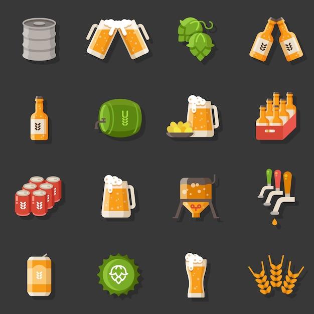 Piwo wektor płaskie ikony. symbole niemieckiego festiwalu oktoberfest Premium Wektorów