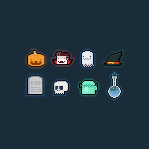 Pixel art cartoon halloween element zestawu. Premium Wektorów