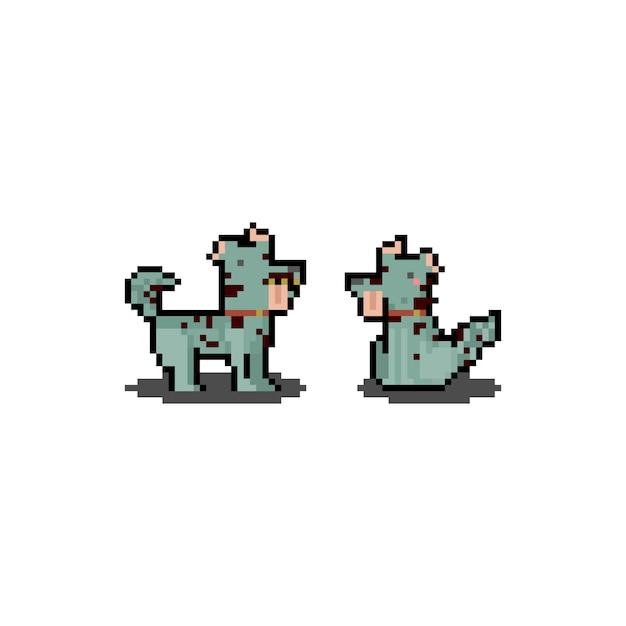 Pixel Art Cartoon Zombie Dog. Halloween. 8 Bitowy. Premium Wektorów