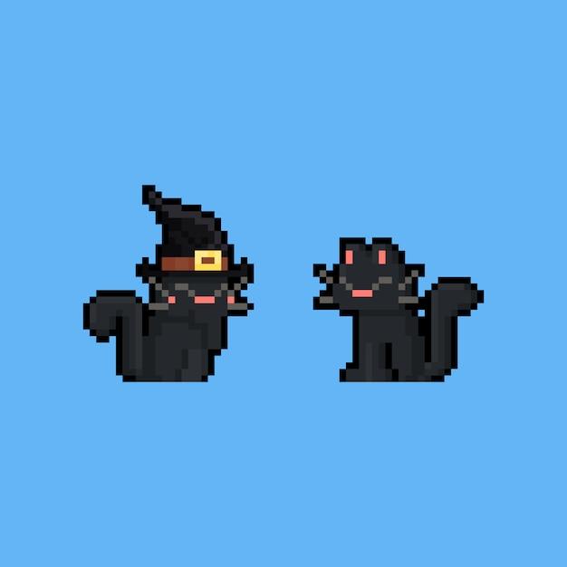 Pixel Art Postać Z Kreskówki Czarny Kot Premium Wektorów
