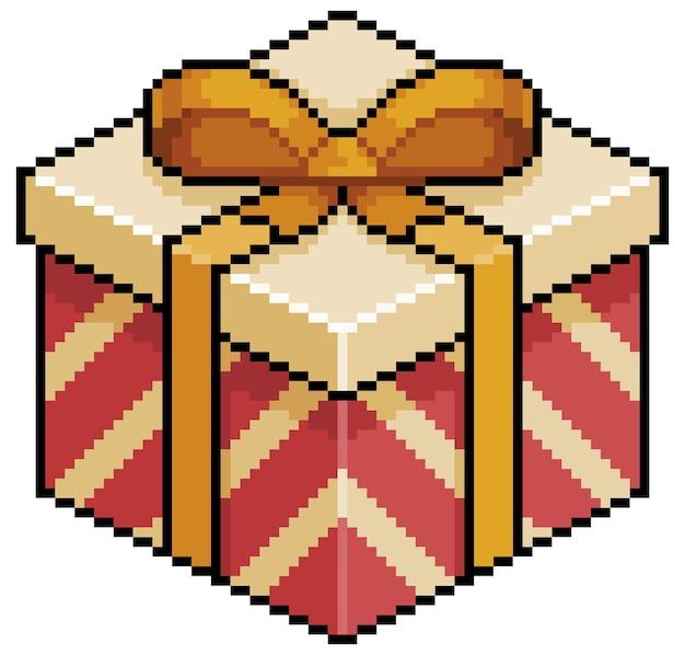 Pixel Art Prezent Na Boże Narodzenie Lub Urodziny Czerwone I Złote Pudełko Element Gry Bitowej Na Białym Tle Premium Wektorów