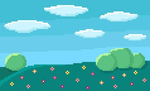 Pixel Art Tło Gry Z Niebieskim Niebem I Chmurami Premium Wektorów