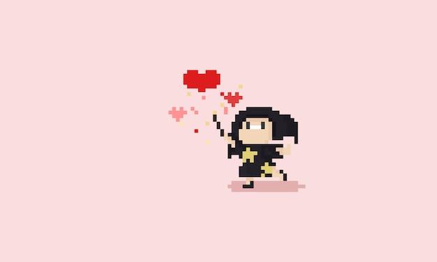 Pixel Mała Czarownica Robi Magiczną Miłość Premium Wektorów