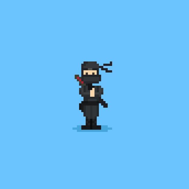 Pixel Urocza Postać Ninja.8 Bit. Premium Wektorów