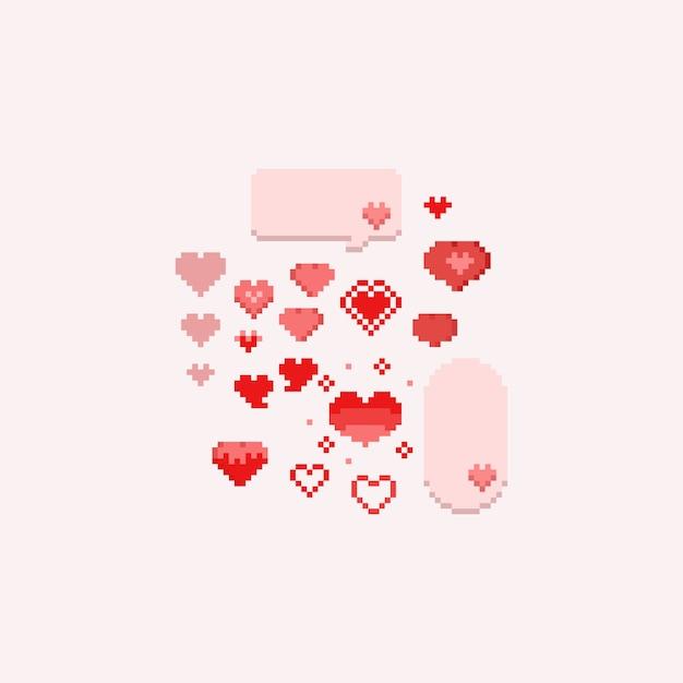 Pixel valentine hearts set.8bit. Premium Wektorów