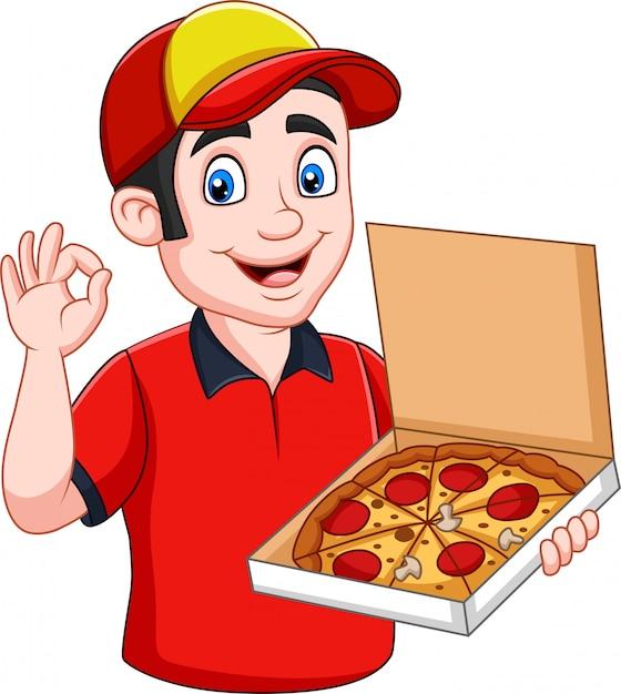 Pizza deliveryman trzyma smakowitą gorącą pizzę Premium Wektorów