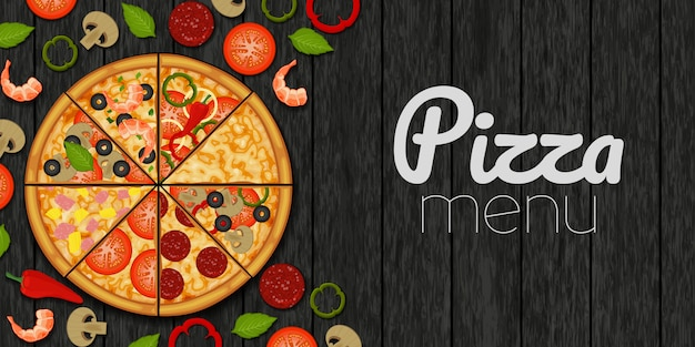 Pizza I Składniki Dla Pizzy Na Drewnianym Czarnym Tle. Menu Pizzy. Obiekt Do Pakowania, Reklamy, Menu. Premium Wektorów