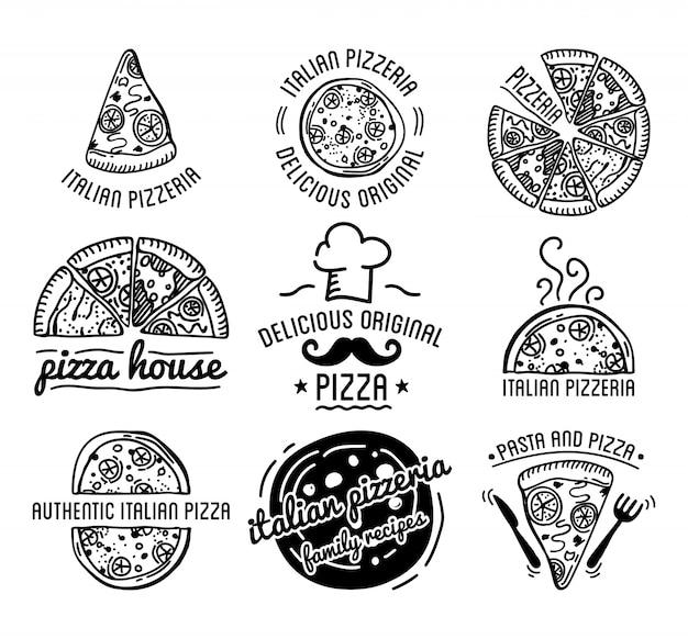 Pizza label design zestaw typograficzny wektor. Premium Wektorów