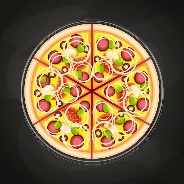 Pizza na pokładzie Premium Wektorów