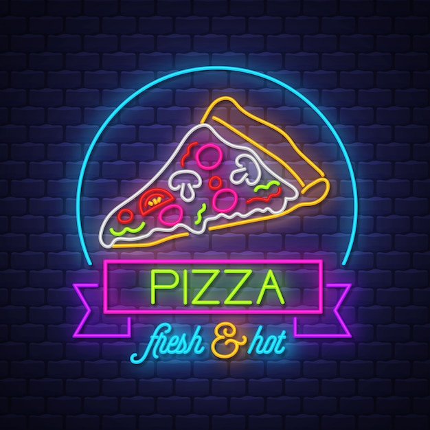 Pizza neonowy znaka wektor na ściana z cegieł tle Premium Wektorów