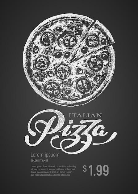 Pizza. Rysunek Kredą I Napis Na Tablicy. Kolory Rgb Global Premium Wektorów