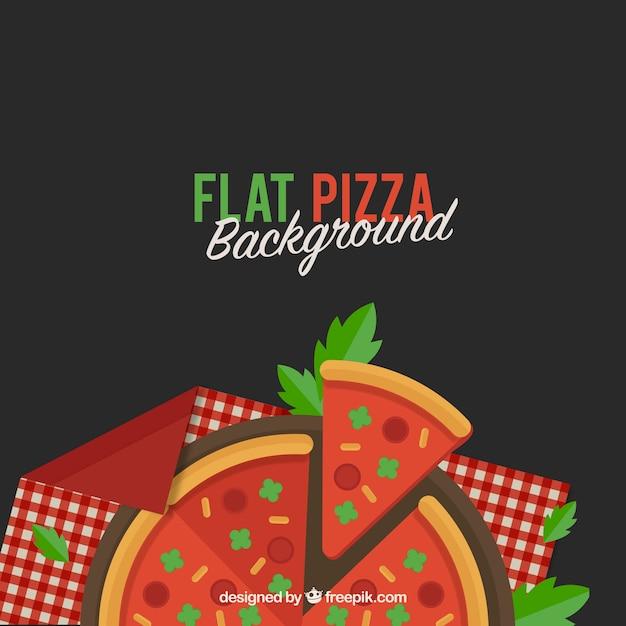 Pizza Tło W Płaskim Stylu Darmowych Wektorów