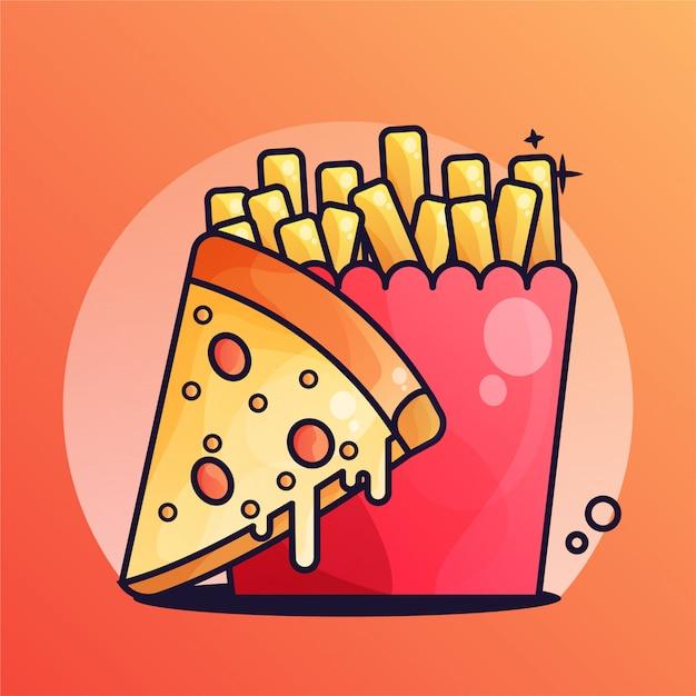 Pizza Z Frytkami Gradient Ilustracji Premium Wektorów