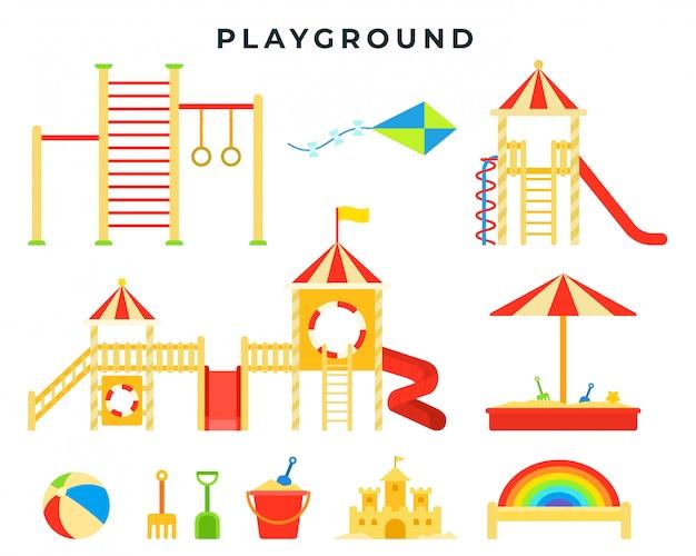 Plac zabaw dla dzieci z piaskownicą, zjeżdżalnią, drążkiem, drabiną, huśtawką, zabawkami. miejsce zabaw dla dzieci Premium Wektorów