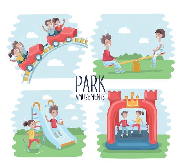 Plac Zabaw Infografika Elementów Ilustracji, Dzieci Bawią Się Na świeżym Powietrzu, W Piaskownicy, Chłopcy I Dziewczęta Idą Na Przejażdżkę Na Huśtawce. Mama Spacerująca Z Dziećmi Premium Wektorów