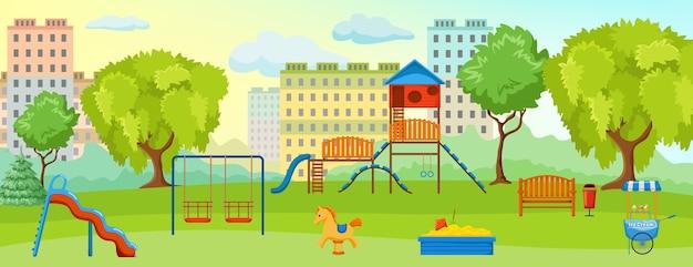 Plac Zabaw Przy Kompozycji Parkowej Z Pustym Placem Zabaw Z Huśtawkami I Terenami Zielonymi Darmowych Wektorów