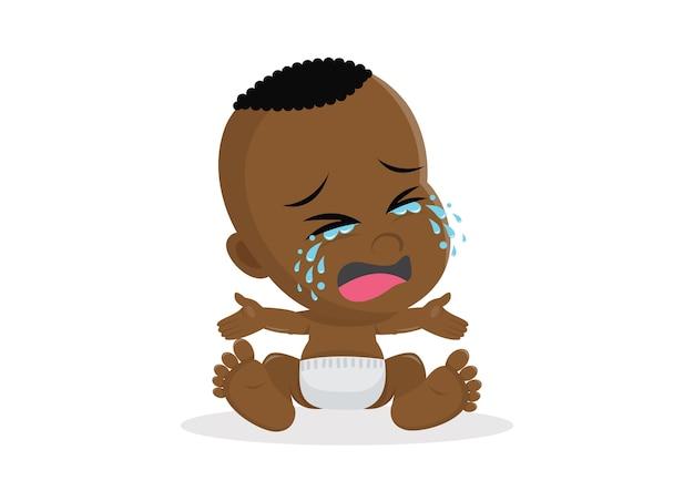 Płacz Afrykańskiego Chłopca. Premium Wektorów