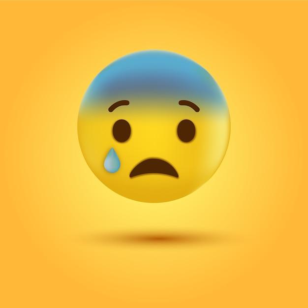 Płacz Smutny Emotikon Lub Twarz Emoji Ze łzą Premium Wektorów