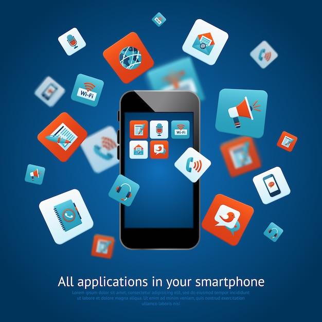 Plakat Aplikacji Smartfonów Darmowych Wektorów