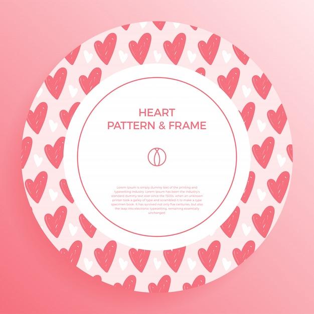 Plakat, Baner Lub Karta Obramowanie Ramki Ręką Miłości Narysuj Modny Wzór Serca W Kolorze. Premium Wektorów