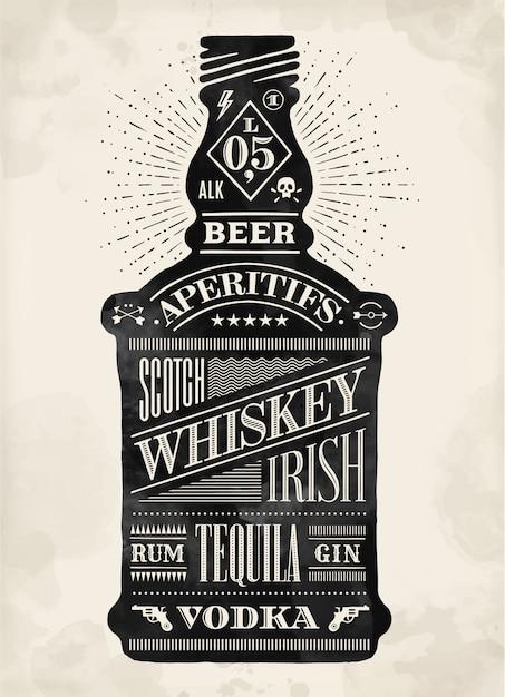 Plakat butelka alkoholu z ręcznie rysowane napis Premium Wektorów