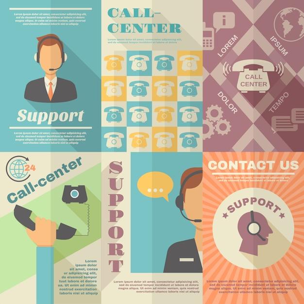 Plakat Call Center Wsparcia Premium Wektorów