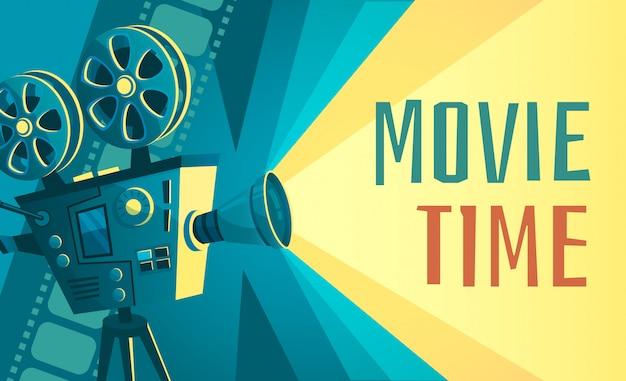 Plakat Czasu Filmu. Rocznika Kinowy Projektor Filmowy, Kino Domowe I Retro Kamery Ilustracja Premium Wektorów