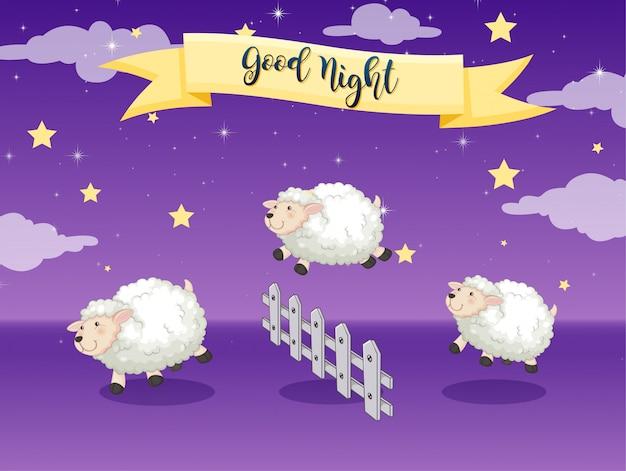 Plakat dobranoc z liczeniem owiec Darmowych Wektorów