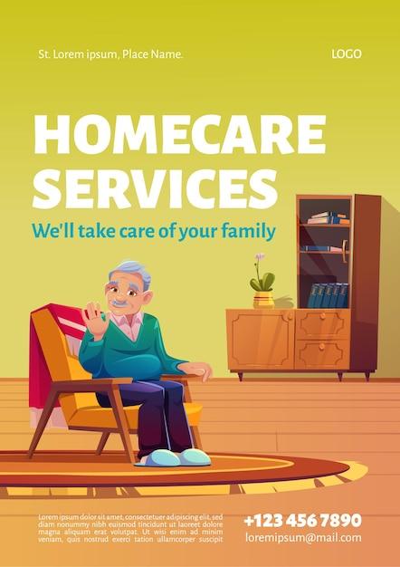 Plakat Dotyczący Usług Opieki Domowej. Darmowych Wektorów