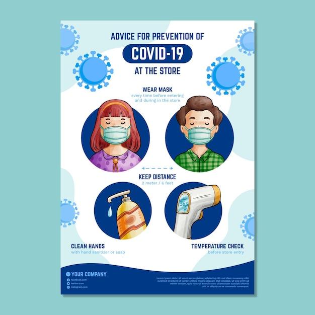 Plakat Dotyczący Zapobiegania Koronawirusowi Dla Sklepów Darmowych Wektorów